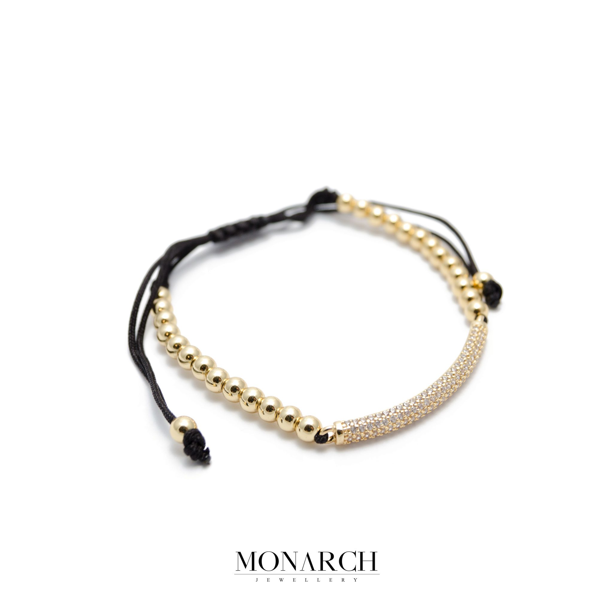 Monarch Jewellery 24K Micro Pave Charm Luxury Macrame Bracelet
