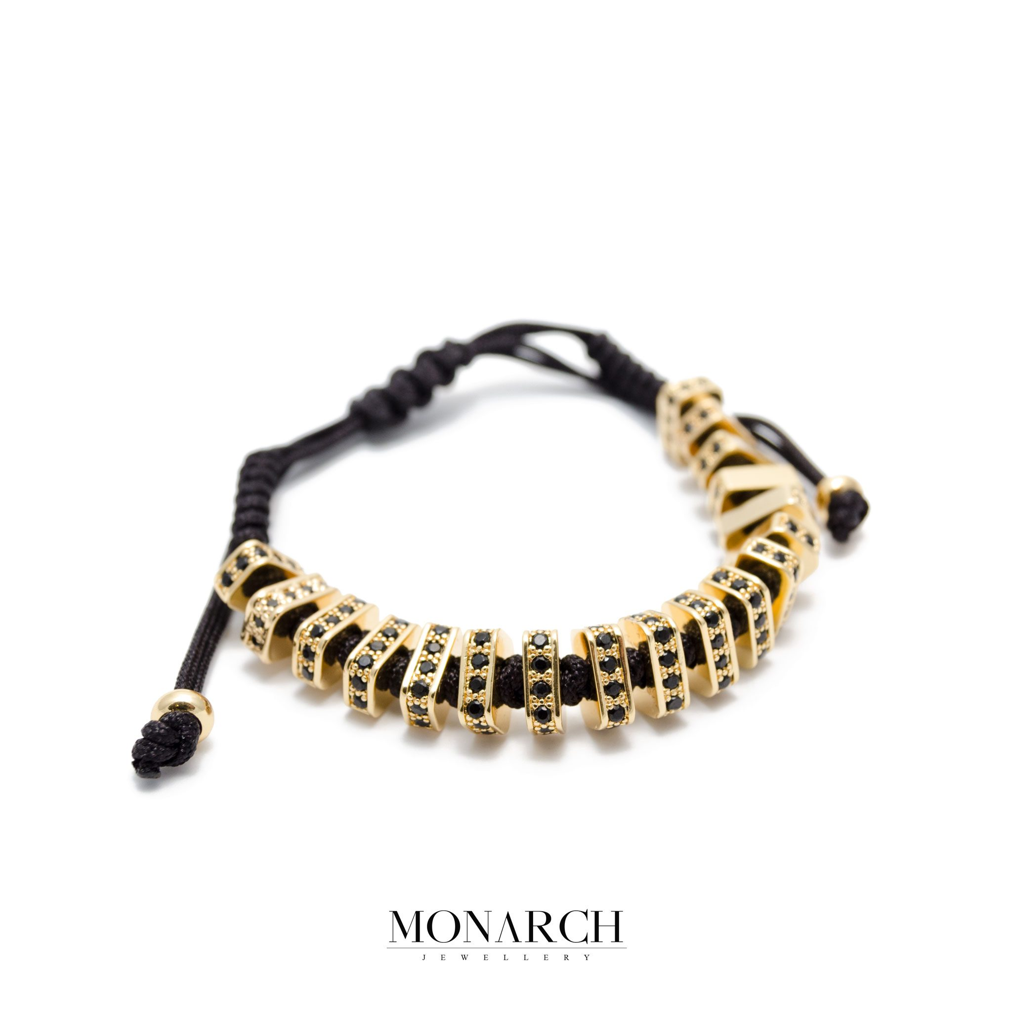 Monarch Jewellery Black&Gold Zircon Luxury Macrame Bracelet