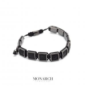 Monarch Jewellery Black Pearlfish Macrame Bracelet