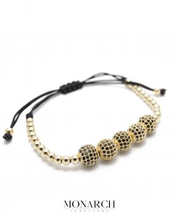 24k gold zircon penta bead macrame bracelet monarch jewellery