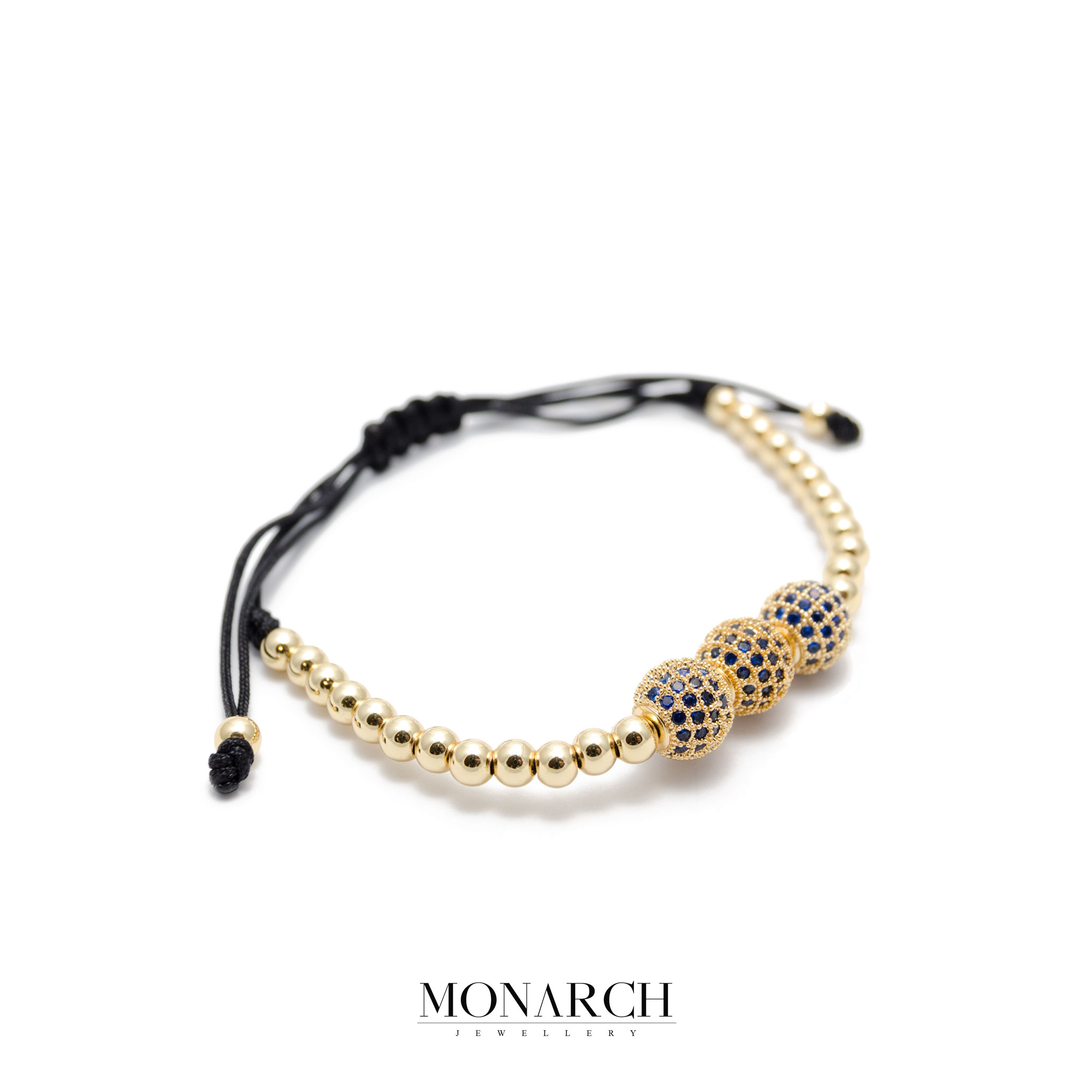 Monarch Jewellery 24K Gold Zircon 3 Bead Luxury Macrame Bracelet