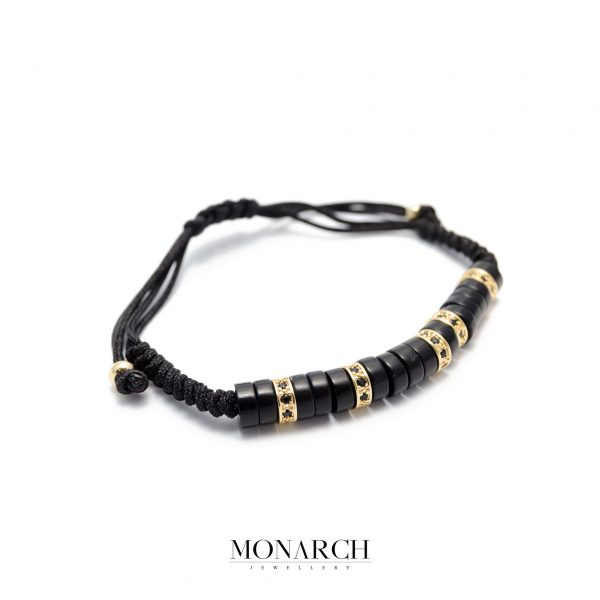 Monarch Jewellery 24k Micro Pave Zircon Black Luxury Macrame Bracelet