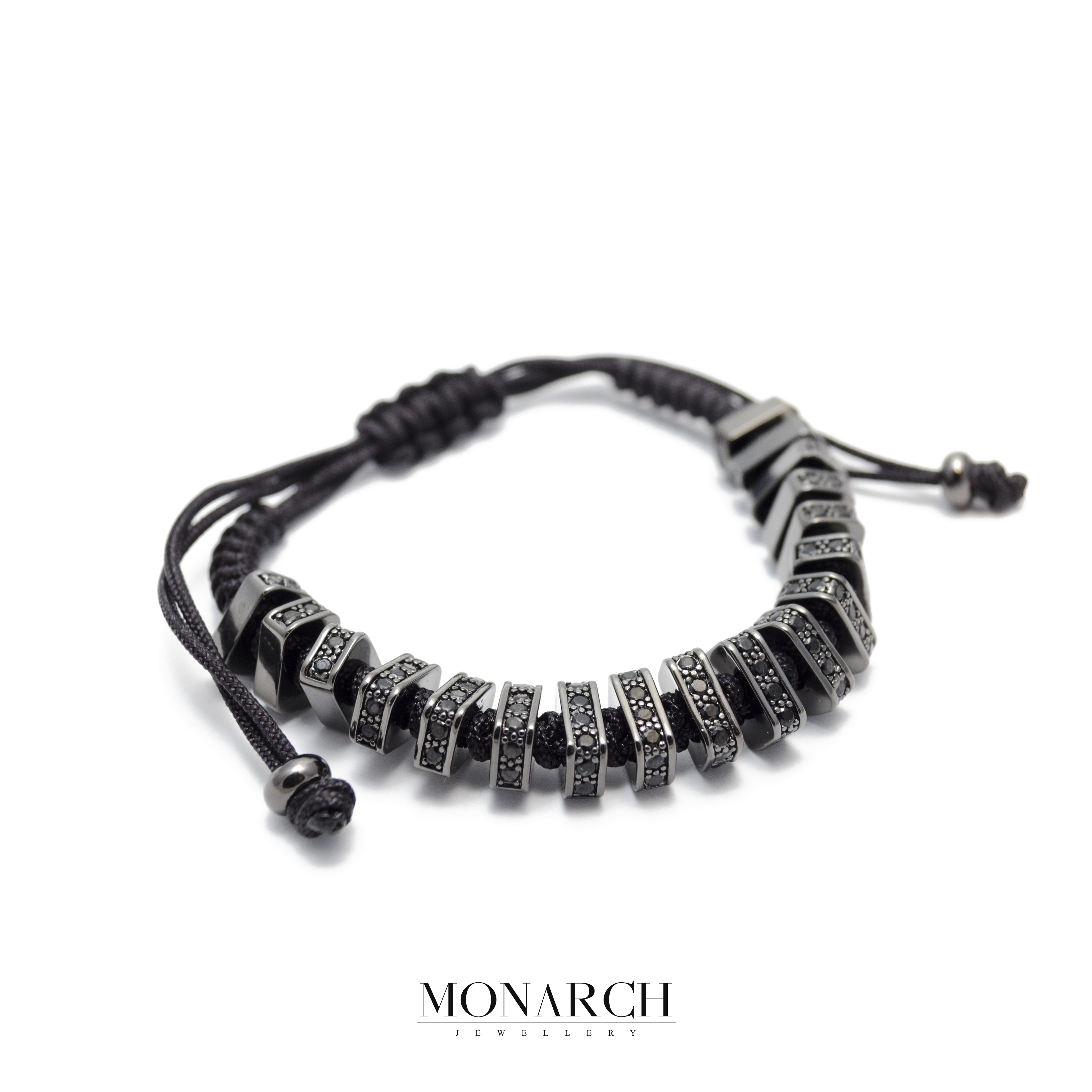 black zircon macrame bracelet monarch jewellery