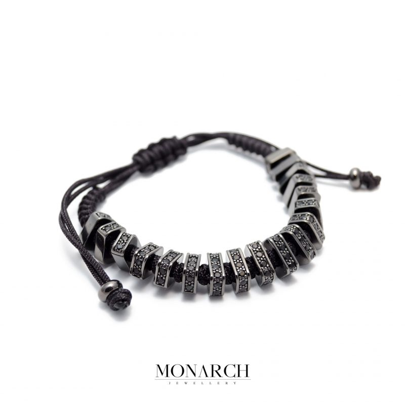 Monarch Jewellery Black Zircon Luxury Macrame Bracelet