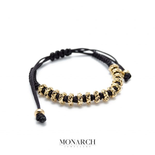 Monarch Jewellery 24K Gold Black Twist Luxury Macrame Bracelet