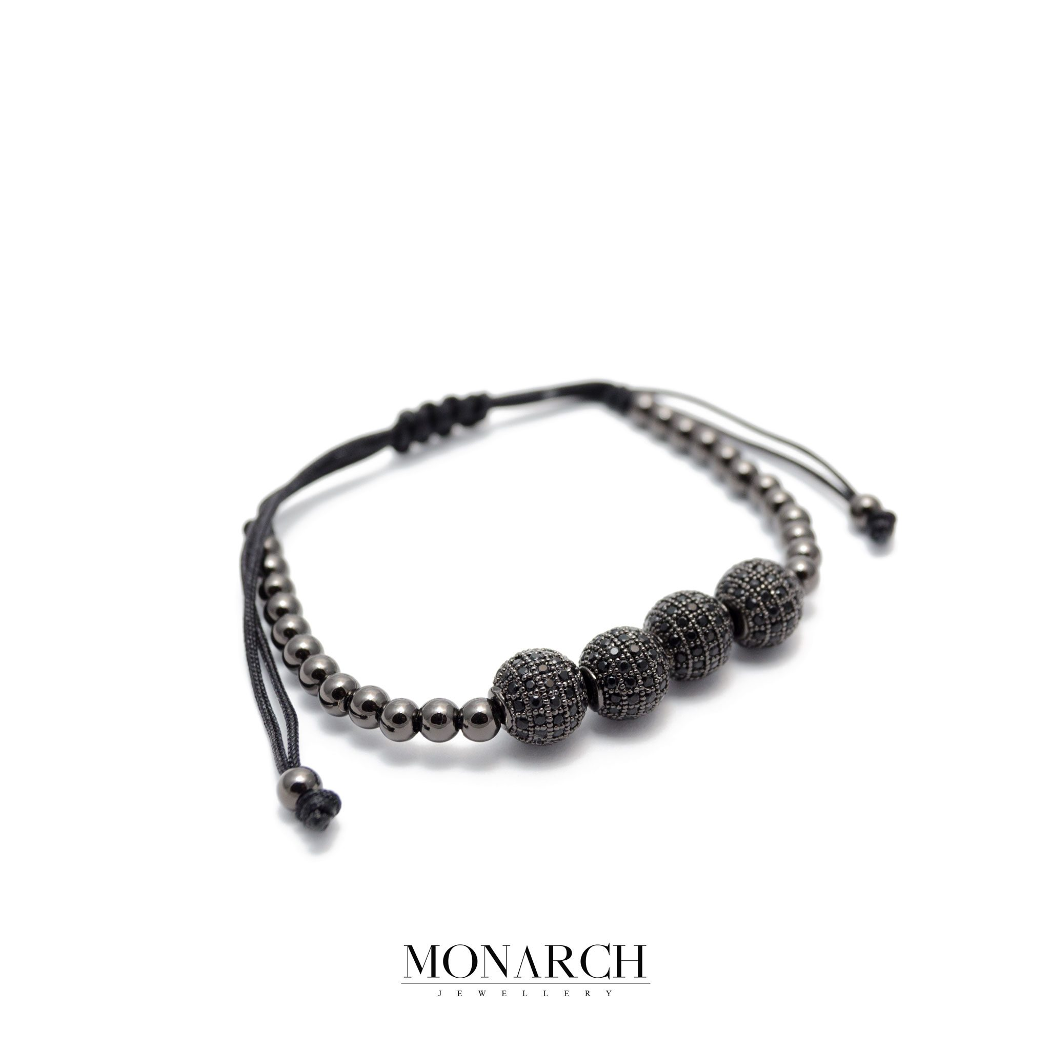 Monarch Jewellery Black Zircon Bead Luxury Macrame Bracelet