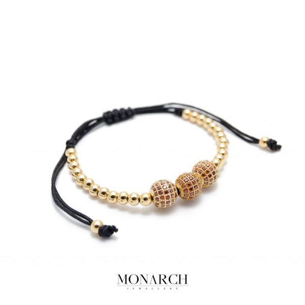 Monarch Jewellery 24k Gold Red Zircon Luxury Macrame Bracelet