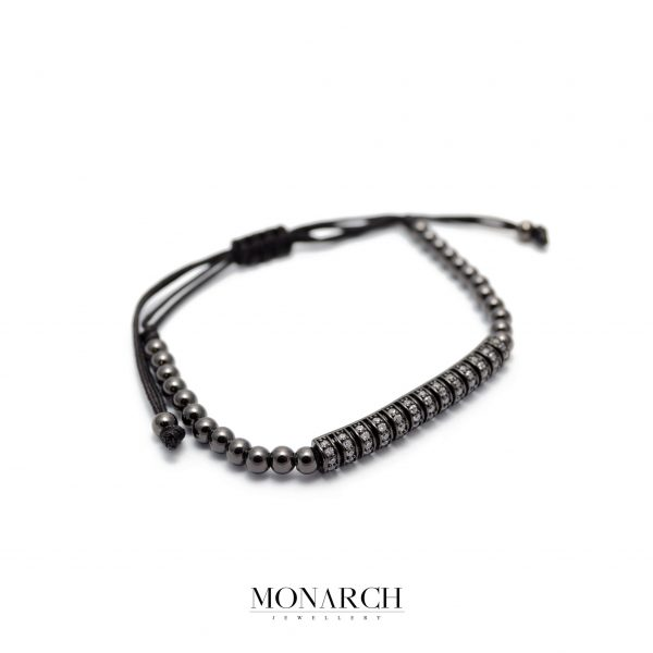 Monarch Jewellery Black Zircon String Luxury Macrame Bracelet