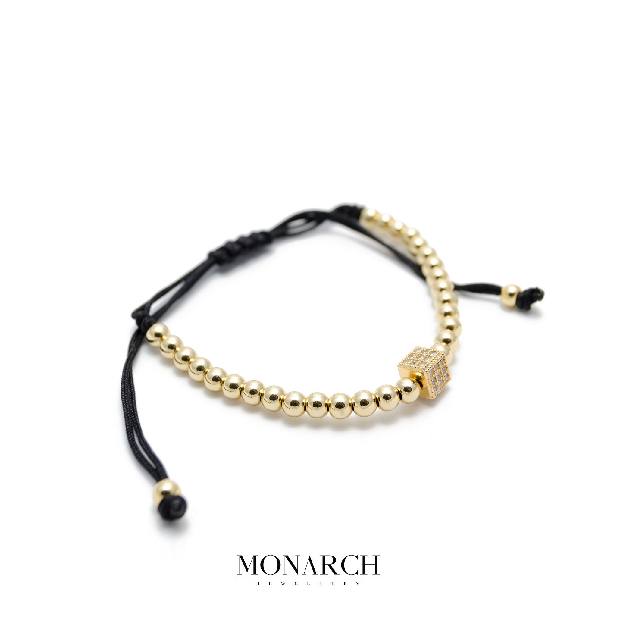 Monarch Jewellery 24K Gold Cube Luxury Macrame Bracelet
