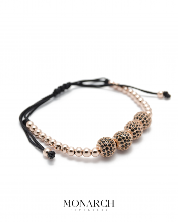 24k gold rose zircon quatro bead macrame bracelet monarch jewellery
