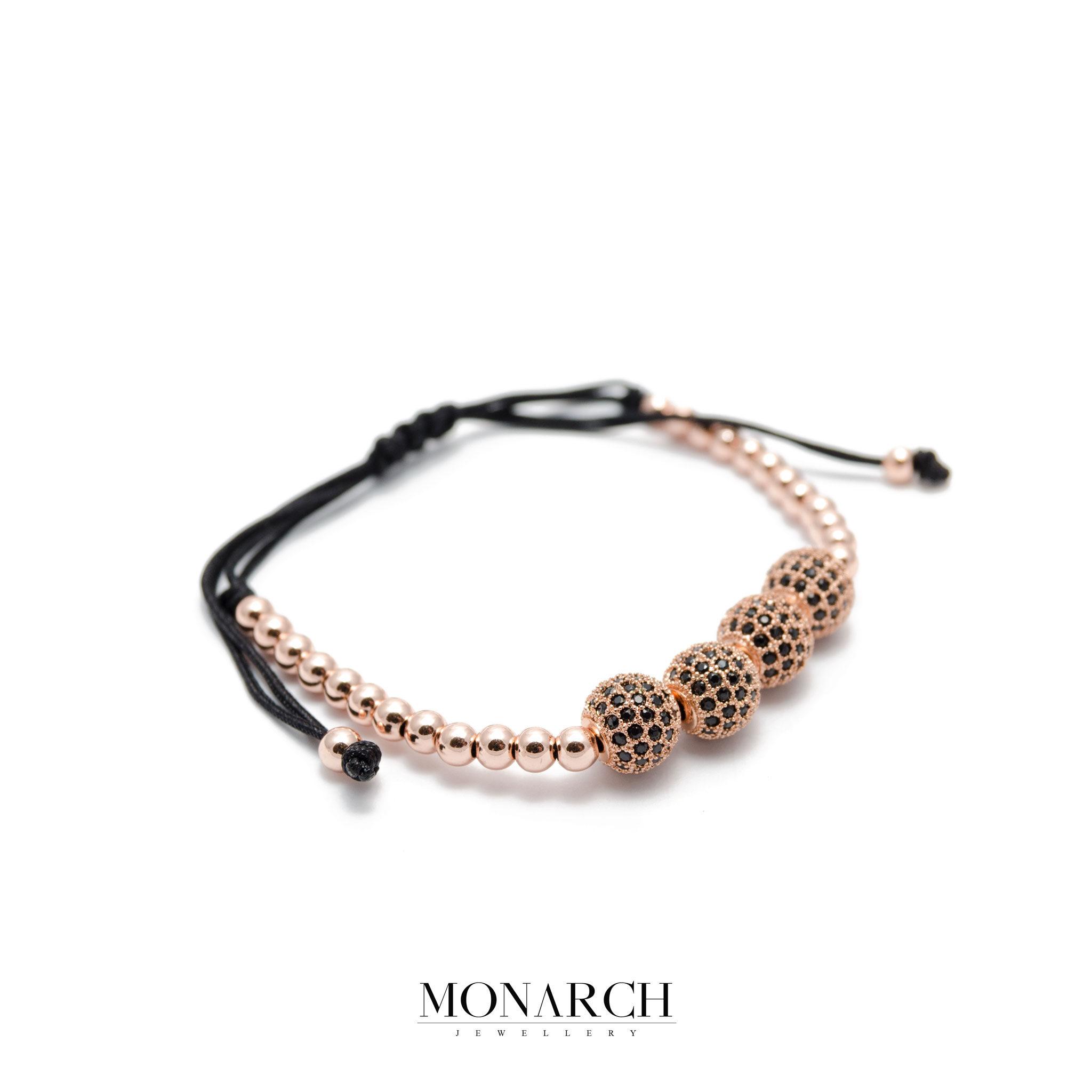 Monarch Jewellery 24K Gold Rose Zircon 4 Bead Luxury Macrame Bracelet