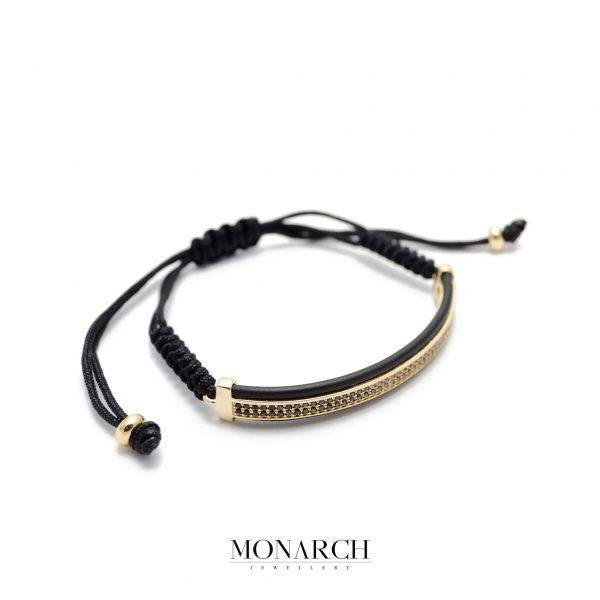 Monarch Jewellery 24K Gold Tube Zircon Luxury Macrame Bracelet