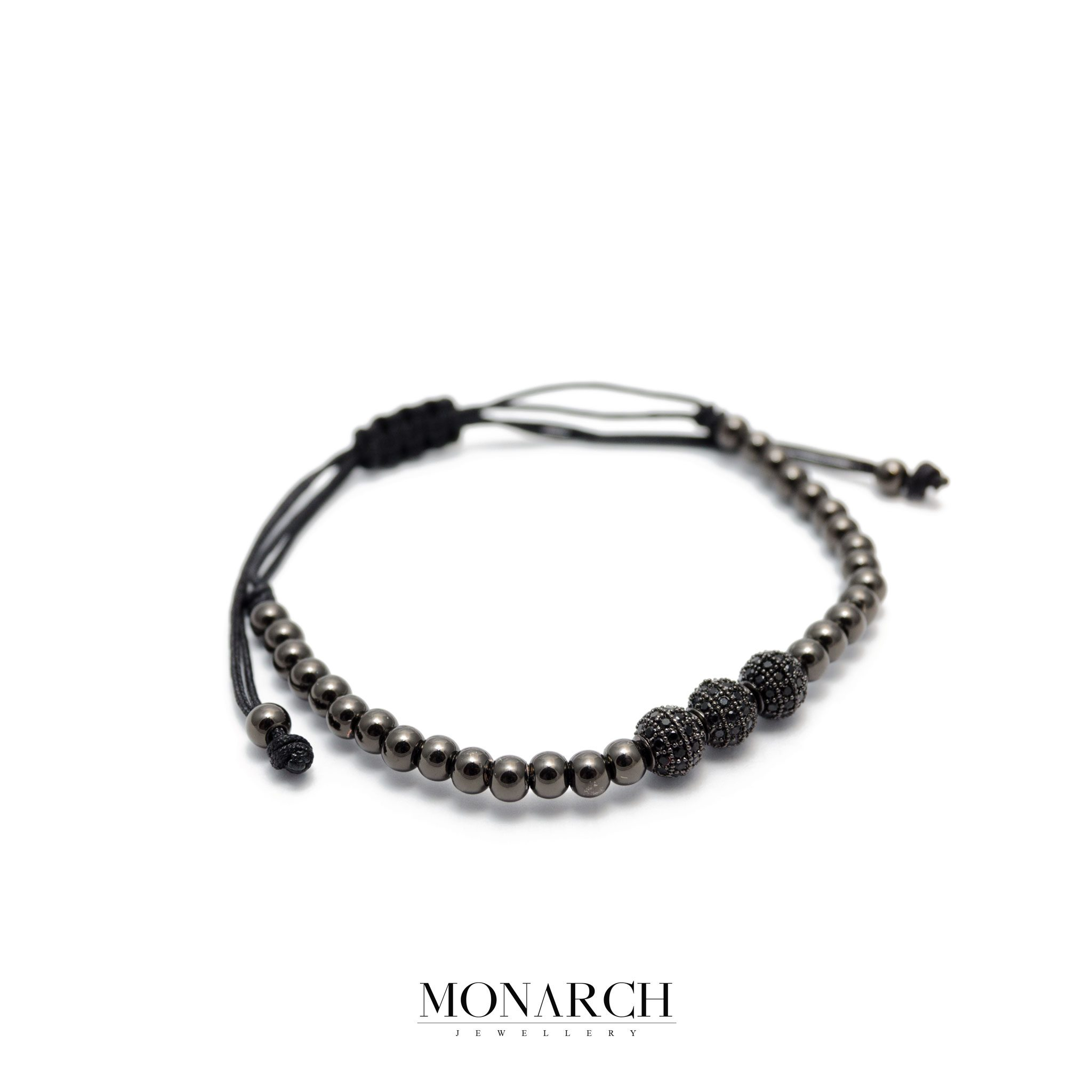 Monarch Jewellery Black Zircon Trio Bead Luxury Macrame Bracelet