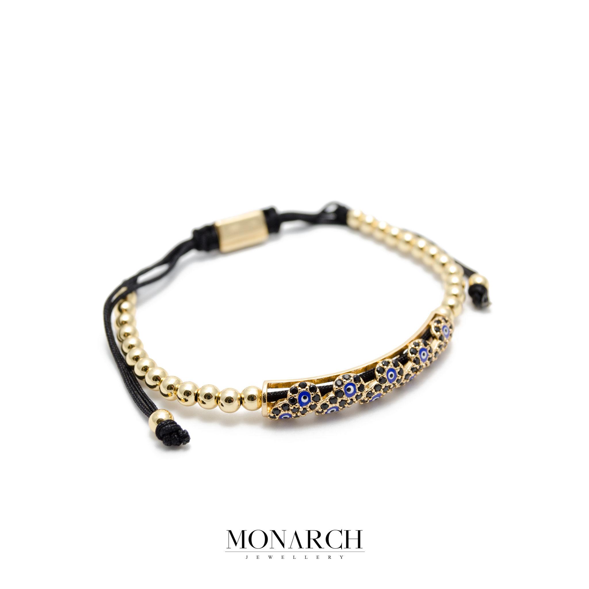 Monarch Jewellery 24K Gold Evil Eye String Luxury Macrame Bracelet
