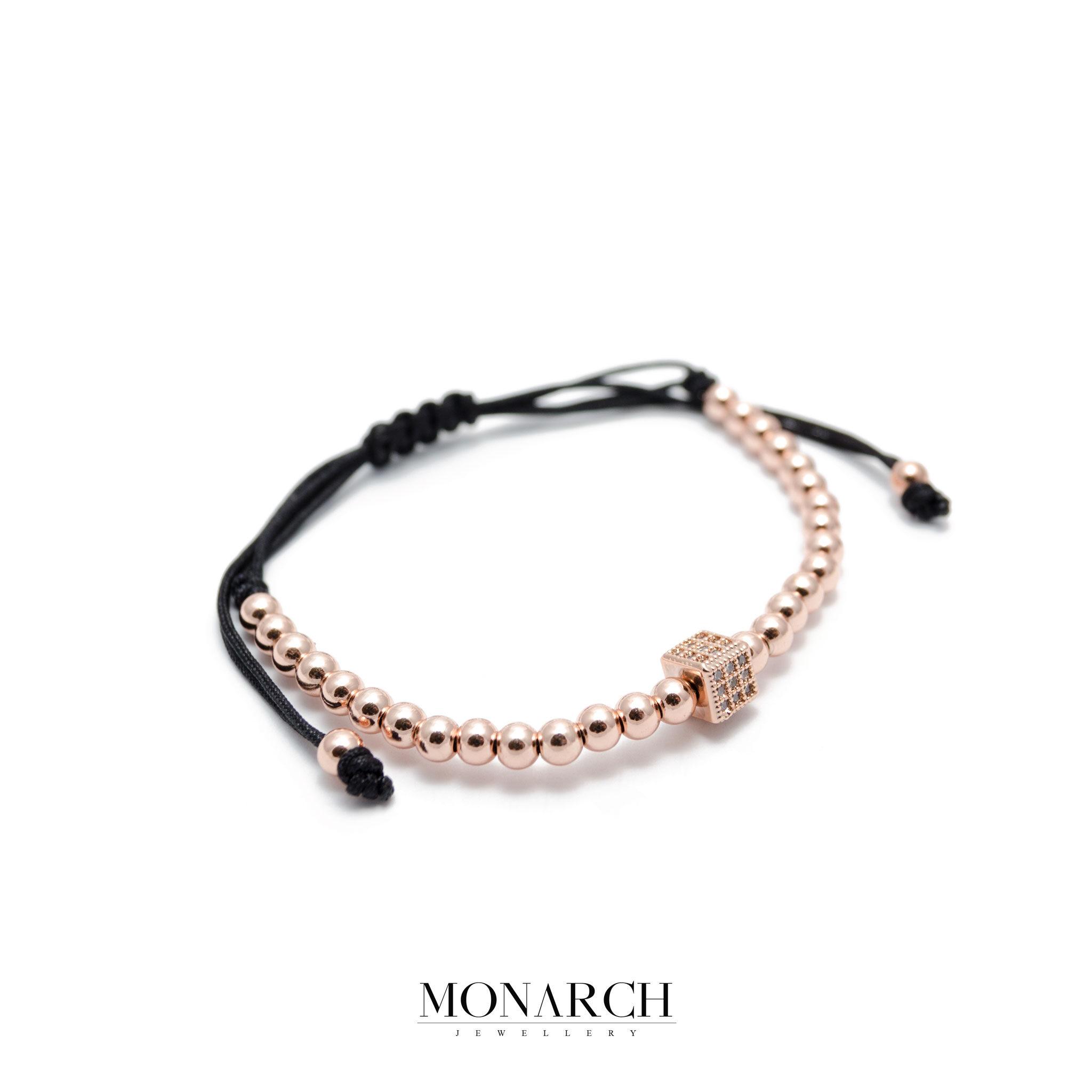 Monarch Jewellery 24K Gold Rose Cube Luxury Macrame Bracelet