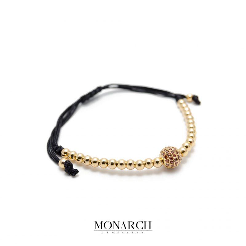 Monarch Jewellery 24k Gold Red Solo Zircon Luxury Macrame Bracelet