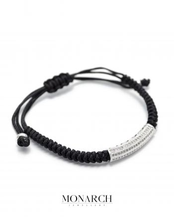 silver micro tube charm macrame bracelet monarch jewellery
