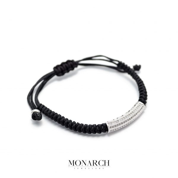 Monarch Jewellery Silver Micro Tube Charm Luxury Macrame Bracelet