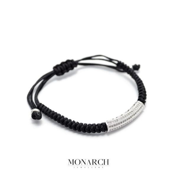 Monarch Jewellery Silver Micro Tube Charm Luxury Macrame Bracelet