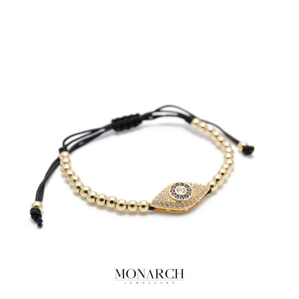 Monarch Jewellery 24K Gold Evil Eye Luxury Macrame Bracelet