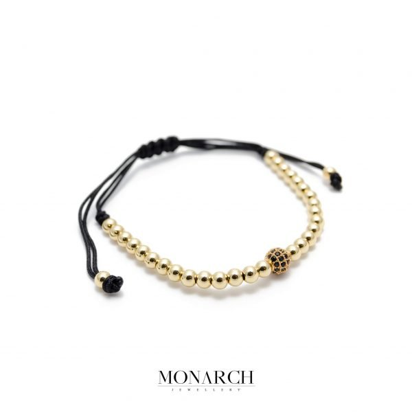 Monarch Jewellery 24k Gold Black Solo Zircon Luxury Macrame Bracelet