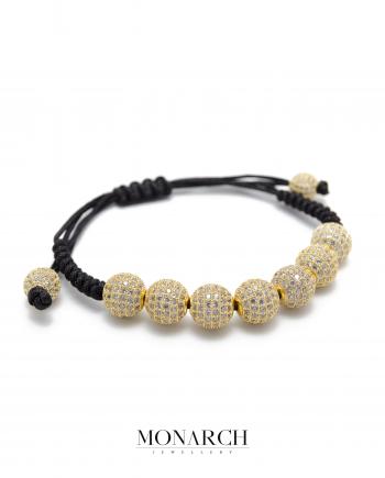 24k gold white zircon macrame bracelet monarch jewellery