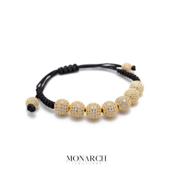 Monarch Jewellery 24k Gold White Zircon Luxury Macrame Bracelet