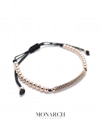 24k gold rose black charm macrame bracelet monarch jewellery