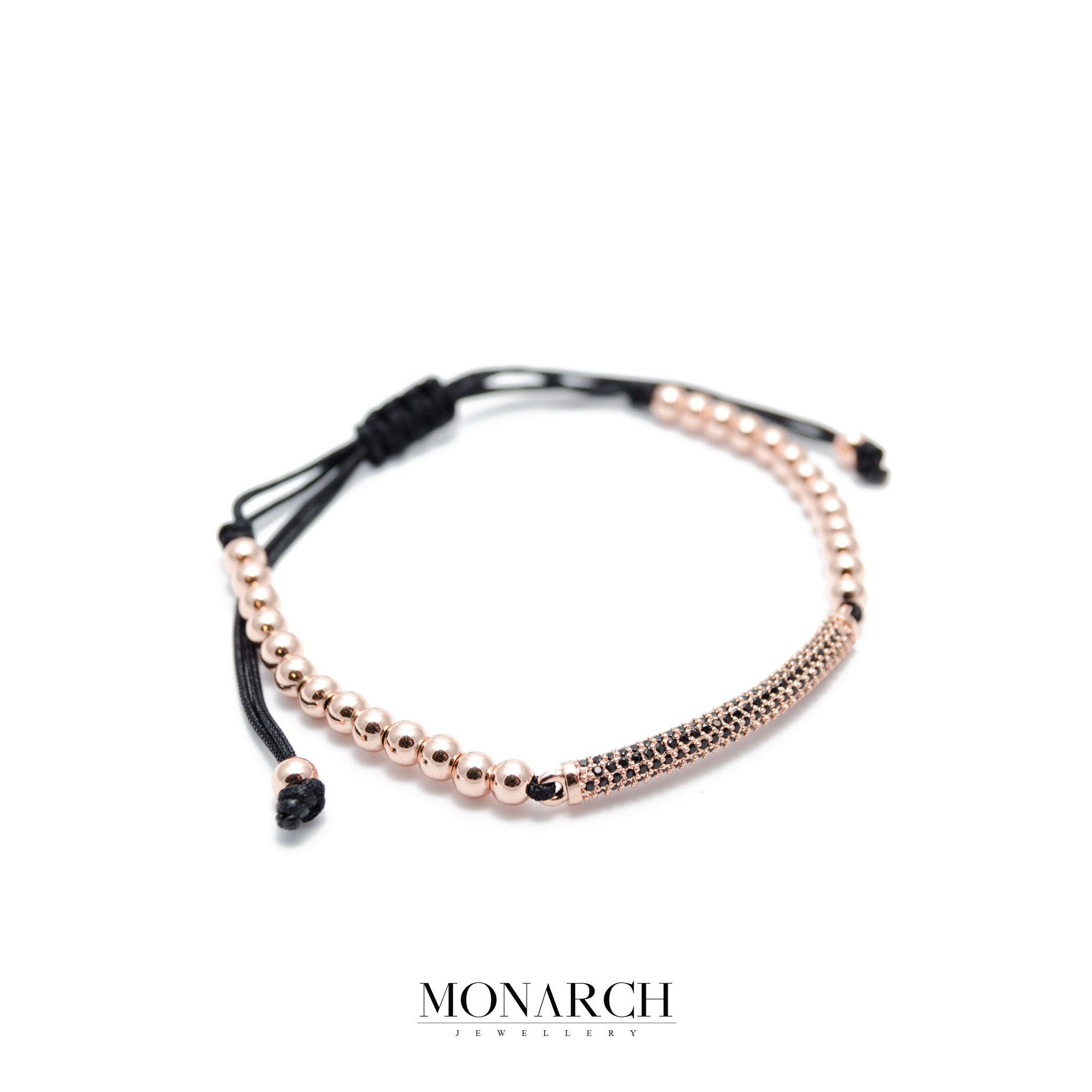 Monarch Jewellery 24K Gold Rose Black Charm Luxury Macrame Bracelet