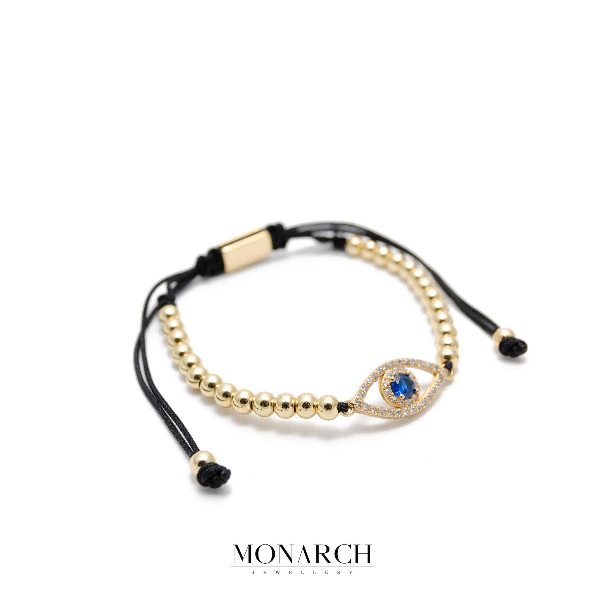 Monarch Jewellery 24k Gold Fatima Eye Charm Luxury Macrame Bracelet