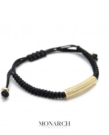 Monarch Jewellery Gold Micro Tube Charm Luxury Macrame Bracelet