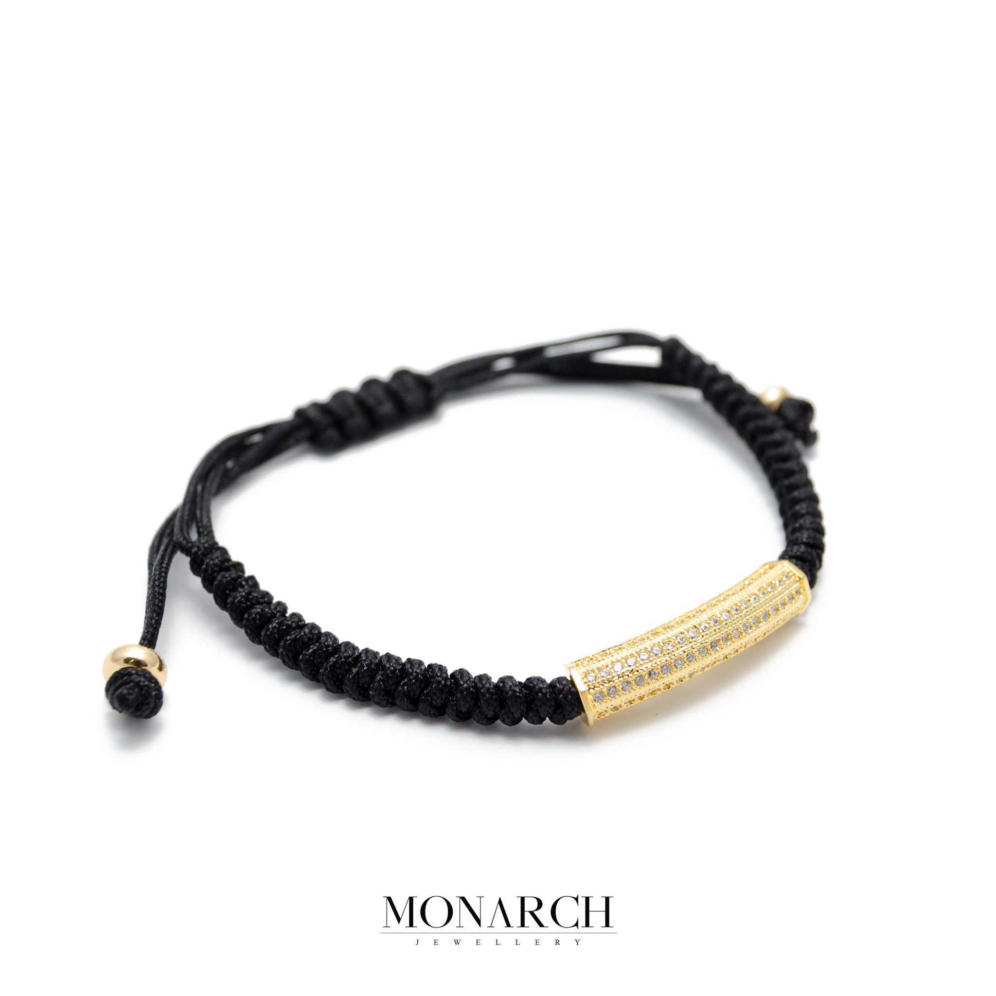 Monarch Jewellery Gold Micro Tube Charm Luxury Macrame Bracelet