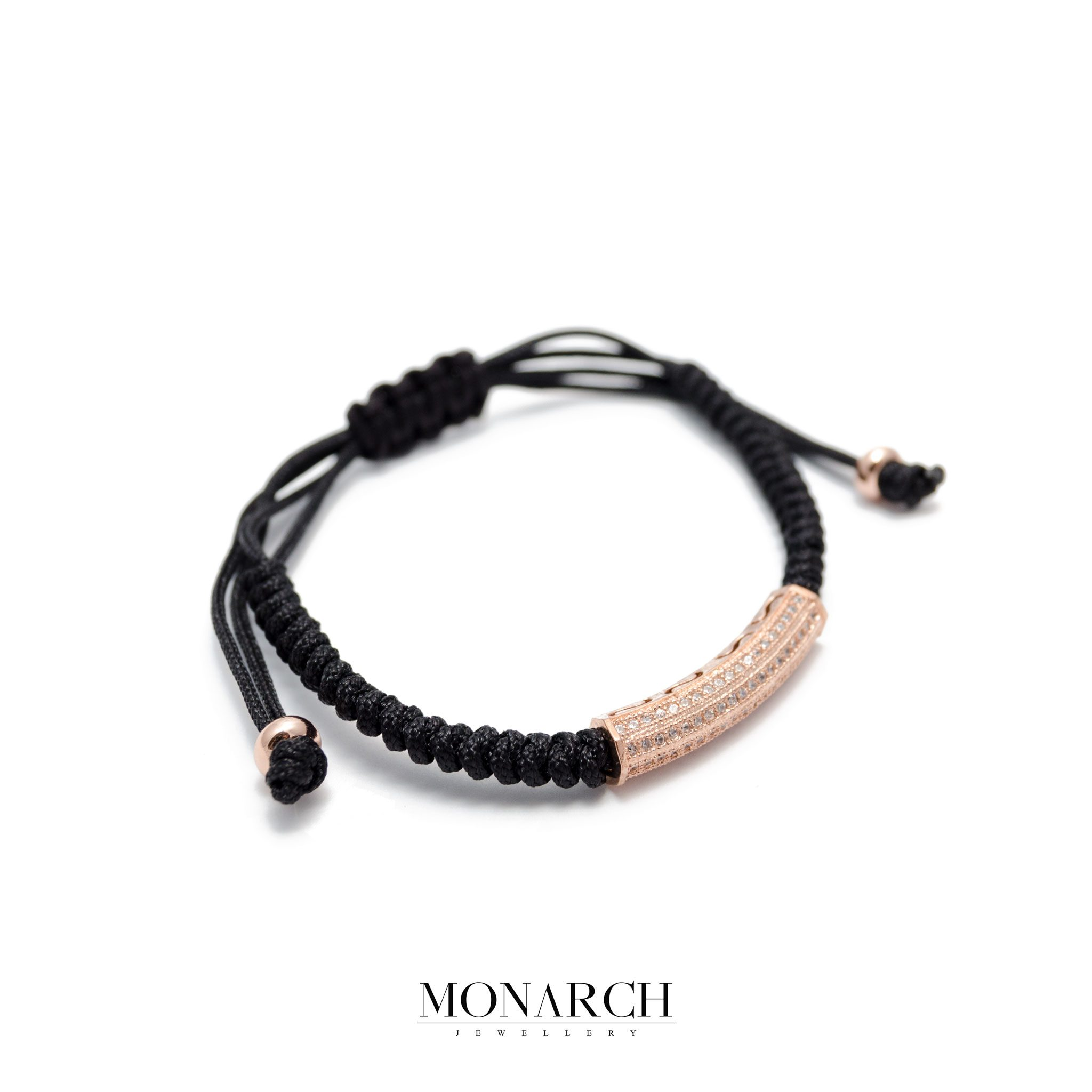 Monarch Jewellery Gold Rose Micro Tube Charm Luxury Macrame Bracelet
