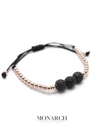 gold rose black zircon macrame bracelet monarch jewellery