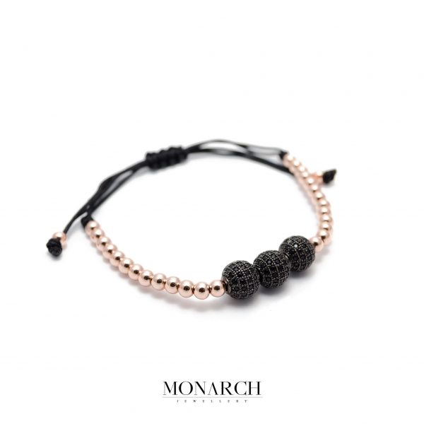 Monarch Jewellery Gold Rose Black Zircon Luxury Macrame Bracelet