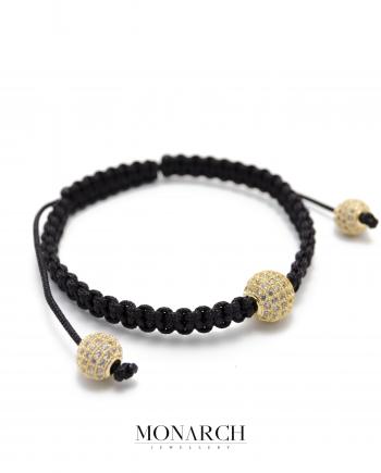 24k gold white solo zircon macrame bracelet monarch jewellery