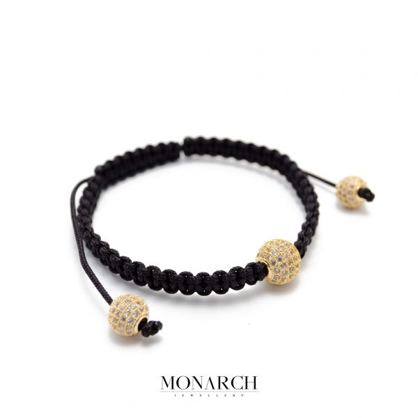 Monarch Jewellery 24k Gold White Zircon Luxury Macrame Bracelet