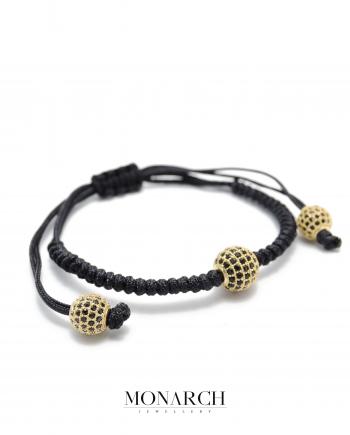 24k gold black zircon macrame bracelet monarch jewellery