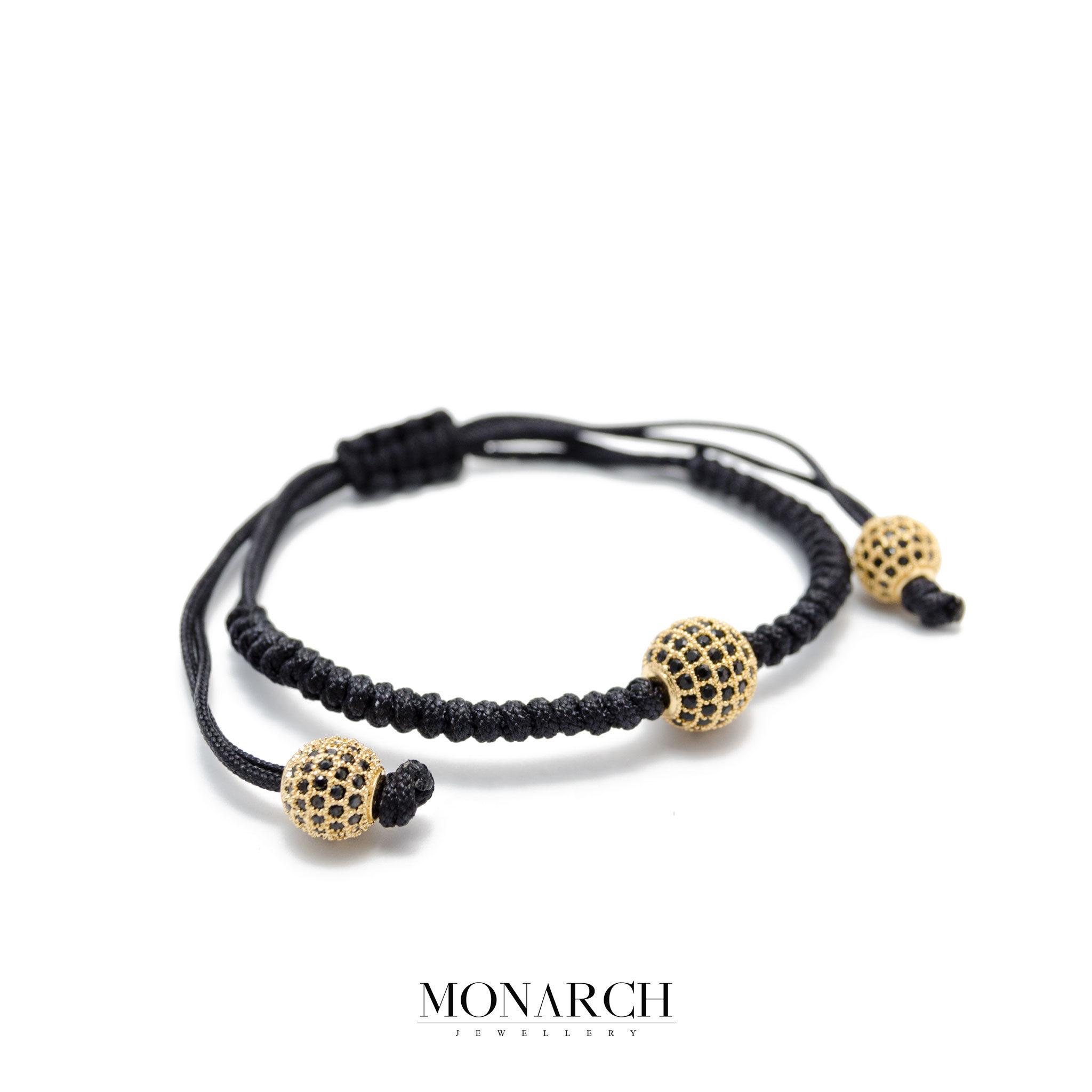 Monarch Jewellery 24k Gold Black Zircon Luxury Macrame Bracelet