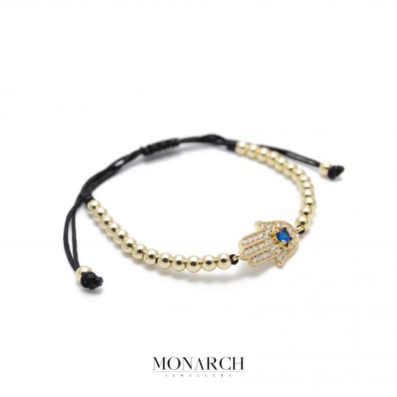 Monarch Jewellery 24K Gold Fatima Hand Charm Macrame Bracelet