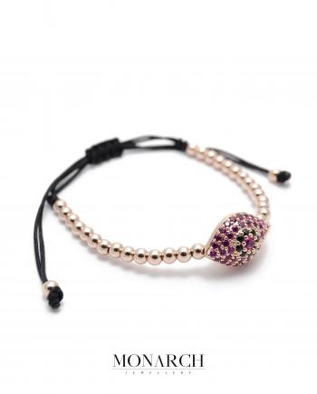 Monarch Jewellery Gold Rose Evil Eye Charm Luxury Macrame Bracelet