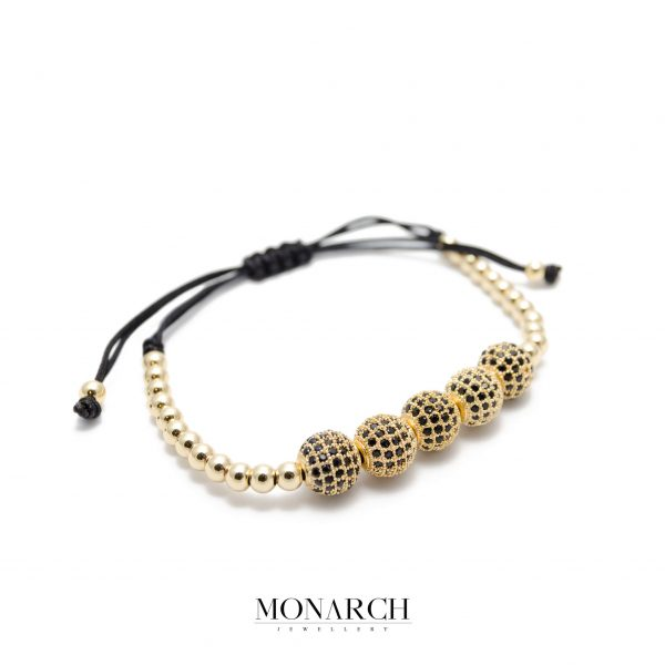 Monarch Jewellery 24k Gold Bead Luxury Macrame Bracelet