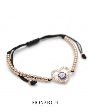 Gold Rose Heart Charm Macrame Bracelet