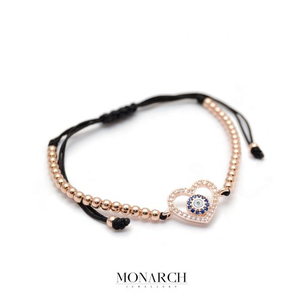 Monarch Jewellery Gold Rose Heart Charm Macrame Bracelet