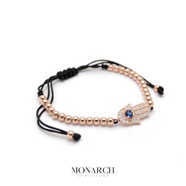 Monarch Jewellery Gold Rose Fatima Hand Charm Macrame Bracelet