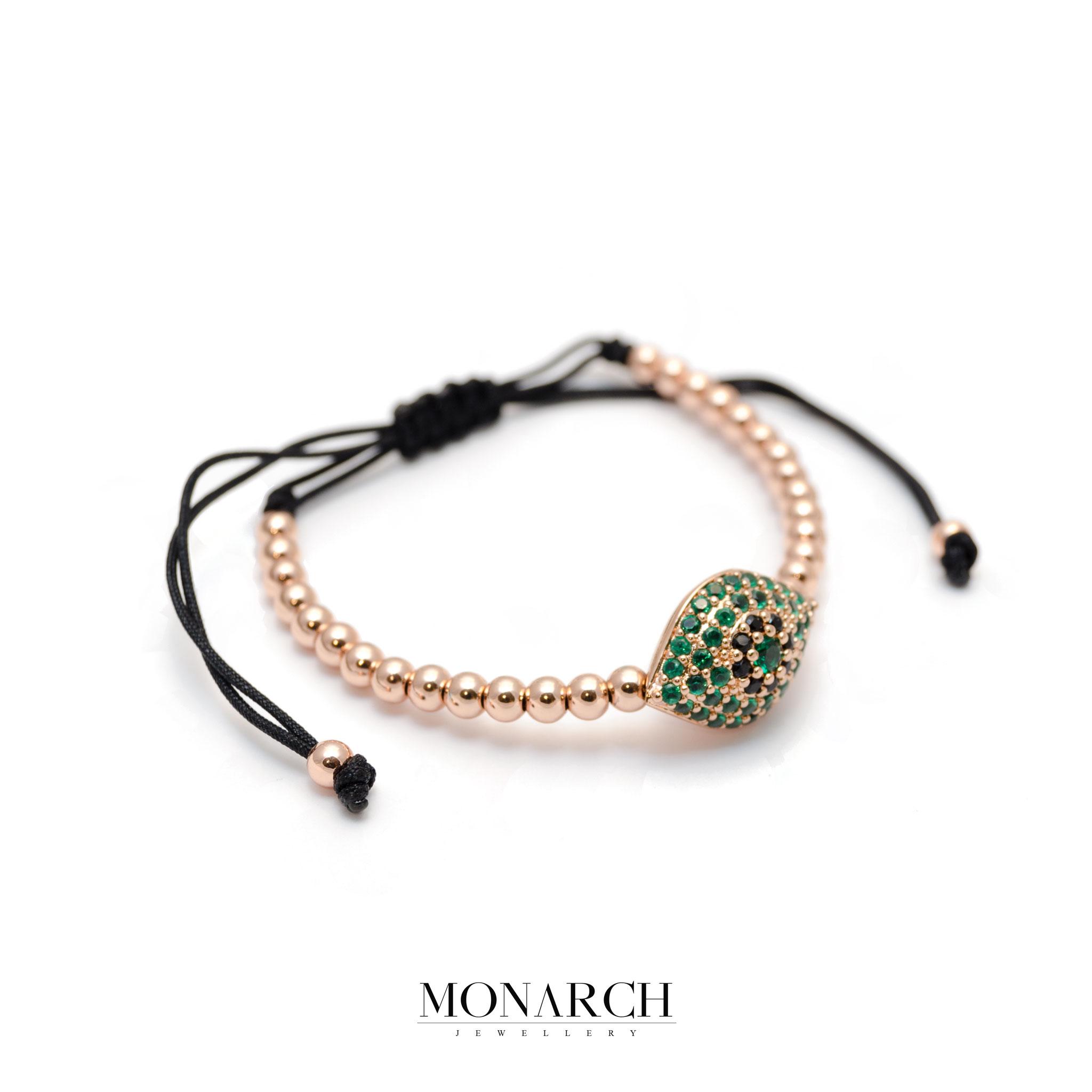 Monarch Jewellery Gold Rose Emerald Evil Eye Charm Macrame Bracelet
