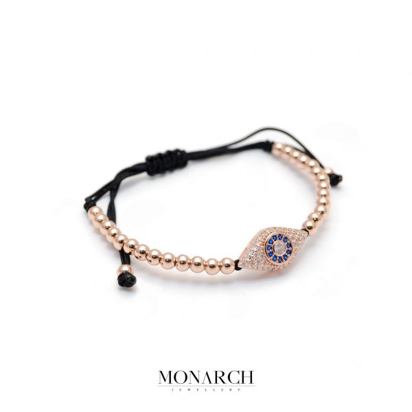 Monarch Jewellery Gold Rose Evil Eye Macrame Bracelet
