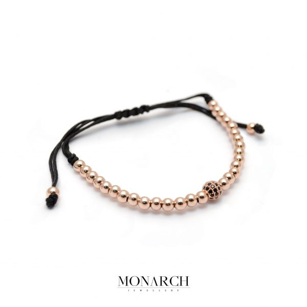 Monarch Jewellery Gold Rose Black Solo Zircon Macrame Bracelet