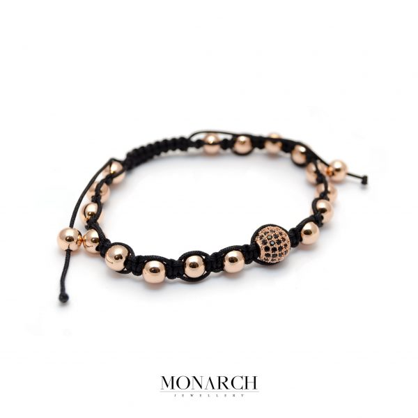 Monarch Jewellery Gold Rose Beads Macrame Bracelet