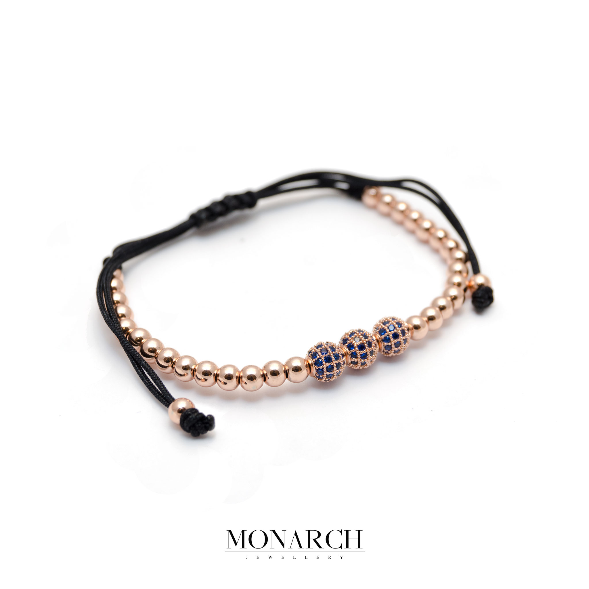 Monarch Jewellery Gold Rose 3 Bead Macrame Bracelet